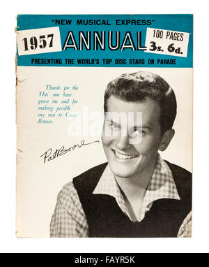 Vintage 1957 copy of the New Musical Express (NME) music magazine annual with Pat Boone on the front cover. - Stock Photo