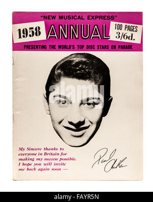 Vintage 1958 copy of the New Musical Express (NME) music magazine annual with Paul Anka on the front cover. - Stock Photo