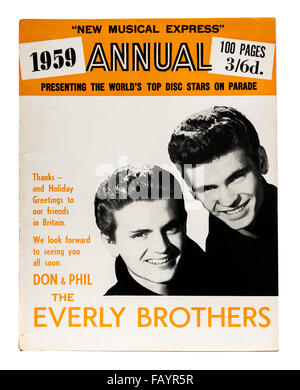 Vintage 1959 copy of the New Musical Express (NME) music magazine annual with The Everly Brothers on the front cover. - Stock Photo