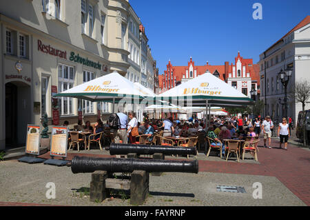 Cafes at market square,  Wismar, Baltic Sea, Mecklenburg Western Pomerania, Germany, Europe - Stock Photo