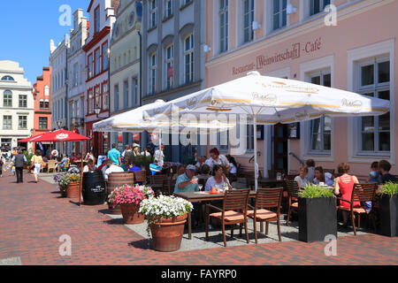 Houses with cafes at market square,Wismar, Baltic Sea, Mecklenburg Western Pomerania, Germany, Europe - Stock Photo