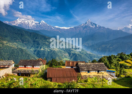 Nepalese village in the Himalaya mountains near Pokhara in Nepal - Stock Photo