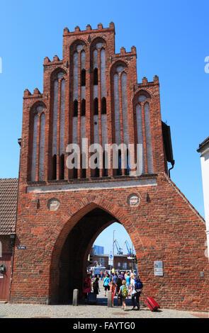 Town gate Wassertor, Wismar, Baltic Sea, Mecklenburg Western Pomerania, Germany, Europe - Stock Photo