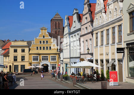 Kraemerstrasse, Wismar, Baltic Sea, Mecklenburg Western Pomerania, Germany, Europe - Stock Photo