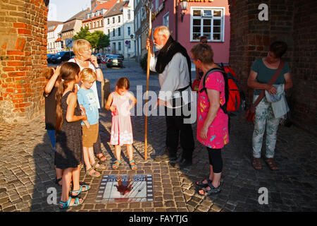 Guided city tour for children, Wismar, Baltic Sea, Mecklenburg Western Pomerania, Germany, Europe - Stock Photo