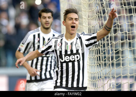 Turin, Italy. 6th January, 2016. Paulo Dybala of Juventus celebrates after scoring goal of 1-0  Torino 06-01-2016, - Stock Photo