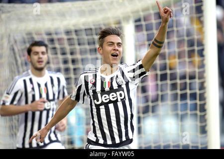 Turin, Italy. 6th January, 2016. Paulo Dybala of Juventus celebrates after scoring goal of 1-0  Torino 06-01-2016, - Stock Photo