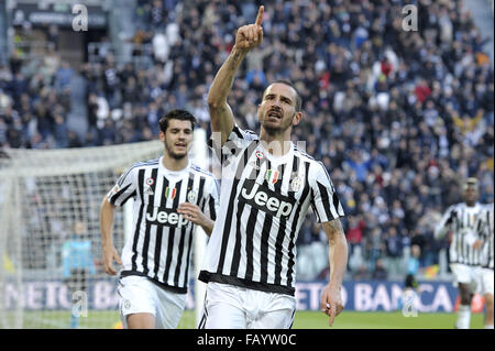 Turin, Italy. 6th January, 2016. Leonardo Bonucci of Juventus celebrates after scoring goal of 2-0  Torino 06-01 - Stock Photo
