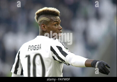 Turin, Italy. 6th January, 2016. Paul Pogba Juventus, Torino 06-01-2016, Juventus Stadium, Football Calcio 2015/2016 - Stock Photo