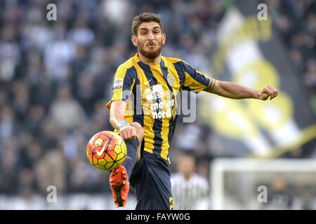 Turin, Italy. 6th January, 2016. Matteo Bianchetti Verona,  Torino 06-01-2016, Juventus Stadium, Football Calcio - Stock Photo