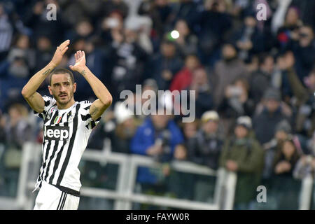 Turin, Italy. 6th January, 2016. Esultanza finale Leonardo Bonucci Juventus, Torino 06-01-2016, Juventus Stadium, - Stock Photo
