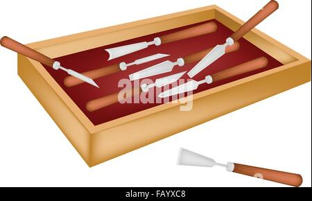 A Collection of Carving Tools Used To Cut and Sculpt A Piece of Wood or Stone, For Create A Sculpture in A Beautiful - Stock Photo