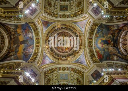 Interior Isaac's cathedral in St-Petersburg, Russian Federation - Stock Photo