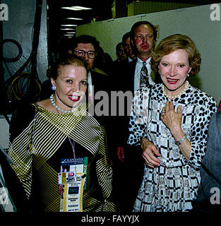 New York, NY., 14th July, 1992 Former FIrst Lady Rosalynn Carter (R) is escorted to the front stage at the Democratic - Stock Photo