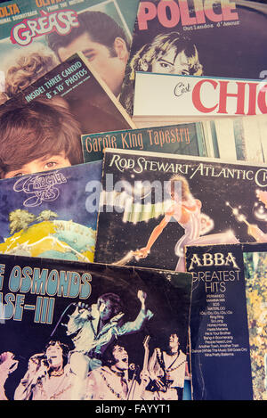 Close up of the covers of a selection of 1970s albums on vinyl - Stock Photo