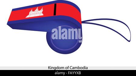 Three Horizontal Bands of Blue, Red and Blue with A Depiction of Angkor Wat of The Kingdom of Cambodia Flag on A - Stock Photo