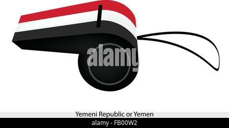 An Illustration of A Horizontal Tricolor of Red, White and Black Bands of The Yemeni Republic or Yemen Flag on A - Stock Photo