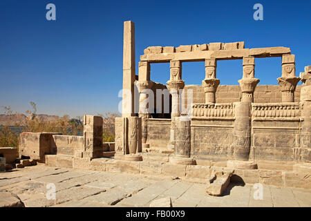 Temple of Hathor, part of Isis / Philae Temple complex on Agilkia / Agilika Island in reservoir of the Old Aswan - Stock Photo