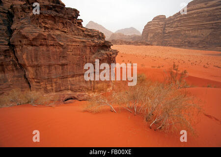 Eroded sandstone rock formation in the Wadi Rum desert / The Valley of the Moon in southern Jordan - Stock Photo
