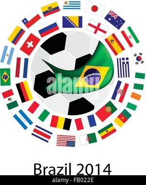 Brazil 2014, An Illustration of The Flags of 32 Nations Around A Soccer Ball of of Football World Cup in Brazil. - Stock Photo
