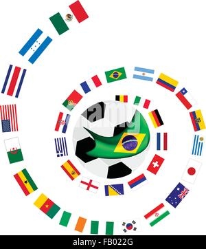 Brazil 2014, An Illustration of The Flags of 32 Countries Around A Soccer Ball of of Football World Cup in Brazil. - Stock Photo