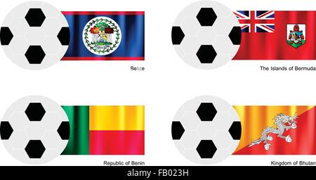 An Illustration of Soccer Balls or Footballs with Flags of Belize, The Islands of Bermuda, Republic of Benin and - Stock Photo