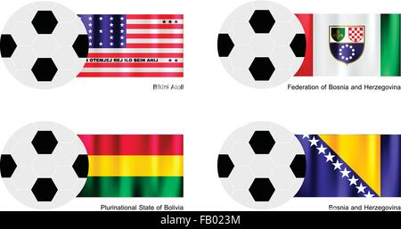 An Illustration of Soccer Balls or Footballs with Flags of Bikini Atoll, Federation of Bosnia and Herzegovina, Plurinational - Stock Photo