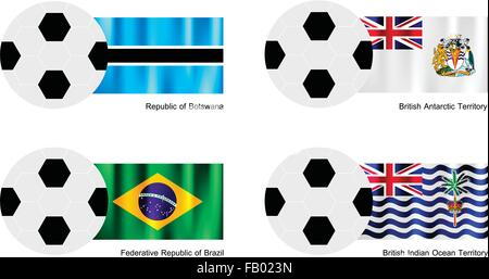 An Illustration of Soccer Balls or Footballs with Flags of Botswana, British Antarctic Territory, Brazil and British - Stock Photo