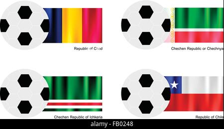 An Illustration of Soccer Balls or Footballs with Flags of Chad, Chechen Republic, Ichkeria and Chile on Isolated - Stock Photo