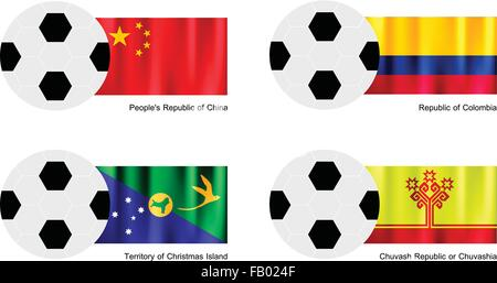 An Illustration of Soccer Balls or Footballs with Flags of China, Colombia, Christmas Island and Chuvash Republic - Stock Photo
