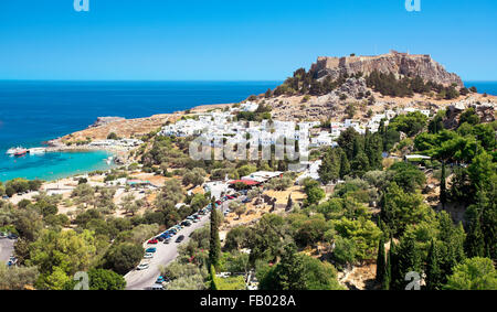 Lindos and the Acropolis, Rhodes, Greek Dodecanese Island - Stock Photo