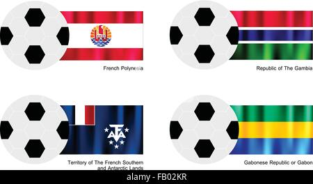 An Illustration of Soccer Balls or Footballs with Flags of French Polynesia, The Gambia, French Southern and Antarctic - Stock Photo