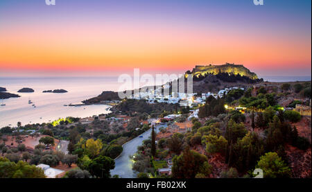 Sunrise at indos and the Acropolis, Rhodes, Greece - Stock Photo