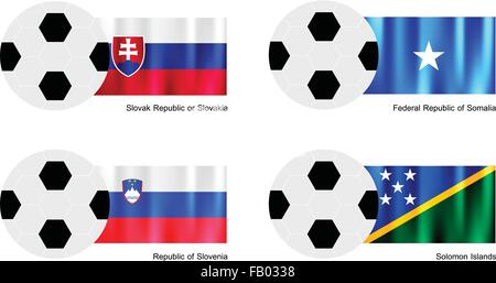 An Illustration of Soccer Balls or Footballs with Flags of Slovak Republic or Slovakia, Somalia, Slovenia and Solomon - Stock Photo