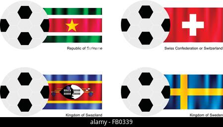 An Illustration of Soccer Balls or Footballs with Flags of Suriname, Swiss Confederation or Switzerland, Swaziland - Stock Photo