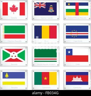 Flags of Canada, Cayman Islands, Central African Republic, Chechen Republic, Chad, Cape Verde, Burundi, Ichkeria, - Stock Photo