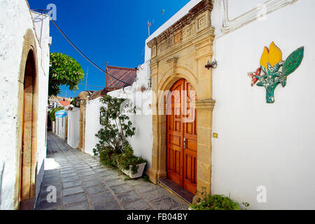 Old Town Lindos, Rhodes Island, Greece - Stock Photo