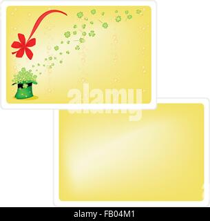 Symbols for Fortune and Luck, Vector Illustration of Yellow Greeting Card with Four Leaf Clover or Shamrock in Saint - Stock Photo