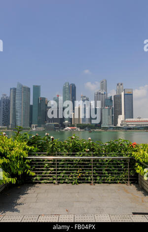 The skyscrapers of the Downtown Core financial district of Singapore viewed from the Marina Bay Sands Hotel across - Stock Photo