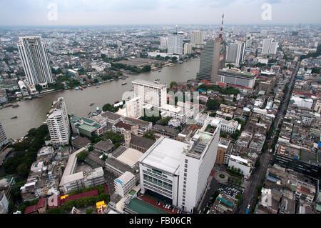 Panoramic viws and landcape of Bangkok from Sirocco rooftop. Thailand. Asia, Bangkok, capital, Centara Grand, Chao - Stock Photo