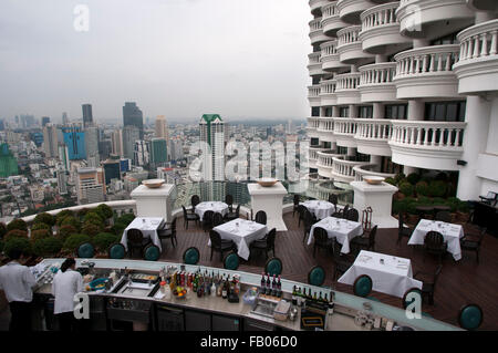 Panoramic viws and landcape of Bangkok from Sirocco rooftop. Thailand. Asia, Bangkok, capital, Centara Grand, Chao - Stock Photo