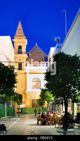 Virgen de la Palma street, with church of the Palma.Cádiz, Andalusia, Spain - Stock Photo