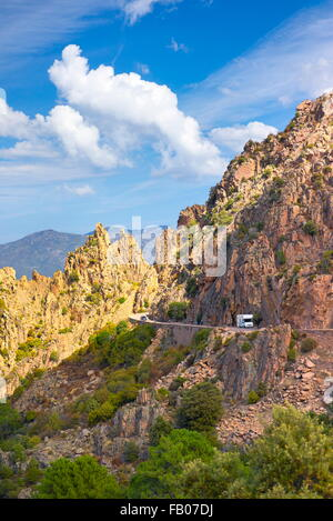 Les Calanches, volcanic red rocks formations mountains landscape, Golfe de Porto, Piana,  Corsica Island, France, - Stock Photo