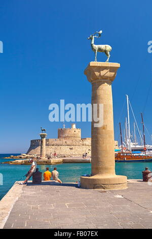 Mandraki harbour and fortress Agios Nicolaos in Rhodes town, Rhodes Island, Greece, UNESCO - Stock Photo