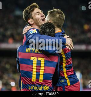 Barcelona, Catalonia, Spain. 6th Jan, 2016. FC Barcelona teammates, including LIONEL MESSI, top left, celebrate - Stock Photo