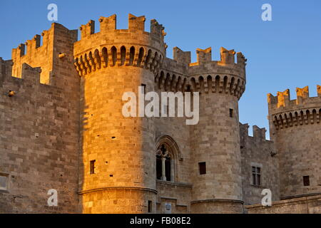 The Palace of the Grand Masters, Old town in Rhodes, Dodecanese Islands, Greece, UNESCO - Stock Photo