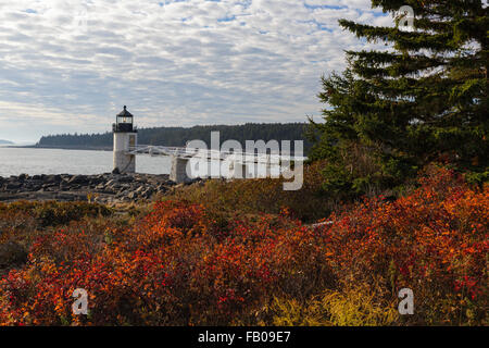 Marshall Point Lighthouse, established in 1832, in Port Clyde, Maine USA. - Stock Photo