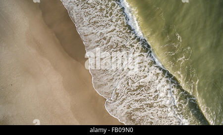 overhead view of waves on shore at Melbourne Beach, Florida - Stock Photo