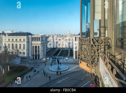 View over downtown Brussels from the Art Nouveau building of the Musical Instruments Museum Brussels MIM. - Stock Photo