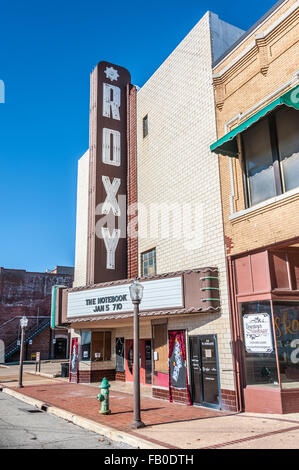 The vintage Roxy Theater in downtown Muskogee, Oklahoma, USA. - Stock Photo